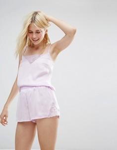 Пижамные шорты и топ с кружевом Monki - Фиолетовый