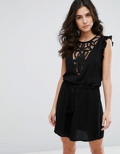 Платье с кружевной вставкой и затягивающимся шнурком на талии Wyldr Japlin - Черный