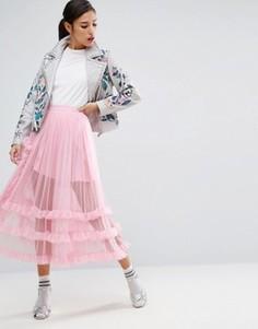 Прозрачная юбка для выпускного из тюля ASOS - Розовый