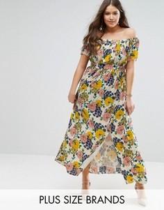 Платье макси со спущенными плечами и цветочным принтом Koko Plus - Кремовый