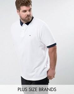 Белая узкая футболка-поло с контрастными манжетами и логотипом Tommy Hilfiger PLUS - Белый