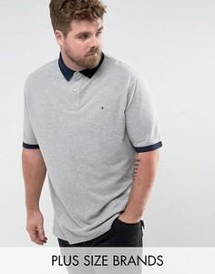 Серая меланжевая футболка-поло с контрастными манжетами и логотипом Tommy Hilfiger PLUS - Серый
