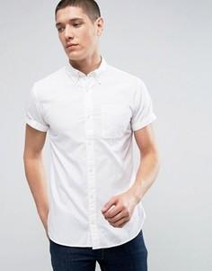 Приталенная оксфордская рубашка с короткими рукавами Jack & Jones Premium - Белый