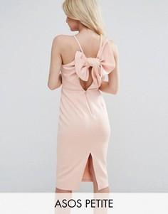 Платье-футляр миди с бантом на спине ASOS PETITE - Розовый