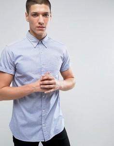 Приталенная оксфордская рубашка с короткими рукавами Jack & Jones Premium - Синий