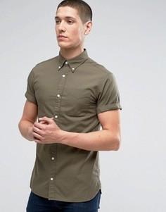 Приталенная оксфордская рубашка с короткими рукавами Jack & Jones Premium - Зеленый