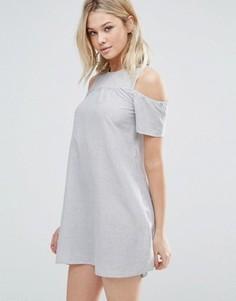 Платье в полоску с вырезами на плечах Brave Soul - Синий
