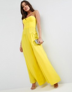 Комбинезон со структурированным лифом и ультраширокими штанинами ASOS Premium - Желтый
