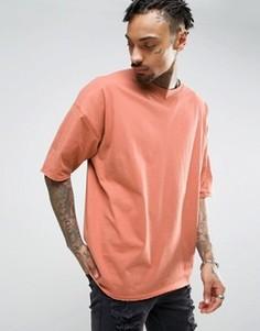 Удлиненная oversize-футболка с V-образной вставкой и отделкой ASOS - Красный