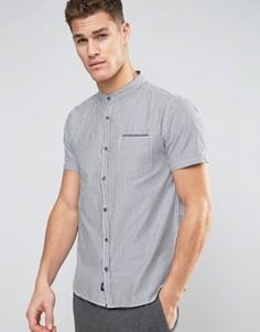 Бело-синяя рубашка в полоску с воротником на пуговицах Brave Soul - Синий