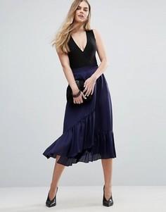 Атласная юбка с кромкой-оборкой ASOS - Синий
