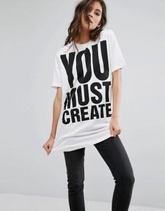 Длинная футболка с принтом You Must Create YMC - Белый