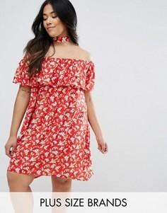 Платье со спущенными плечами и оборкой NVME Plus - Красный