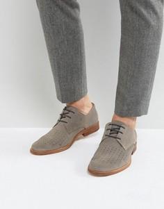 Замшевые перфорированные туфли на шнуровке Zign - Серый