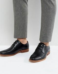 Кожаные перфорированные туфли на шнуровке Zign - Черный