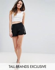 Свободные шорты с вышивкой Glamorous Tall - Черный