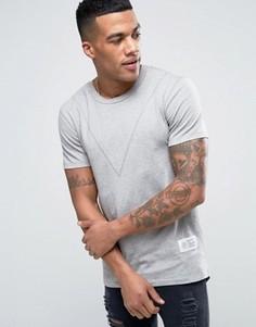 Длинная обтягивающая футболка с закругленным низом сзади Religion - Серый