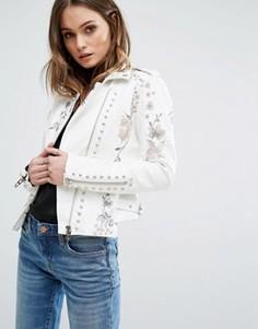 Байкерская куртка из искусственной кожи с цветочной вышивкой и заклепками Blank NYC - Белый