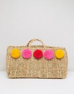 Пляжная соломенная сумка с помпонами Pitusa - Бежевый