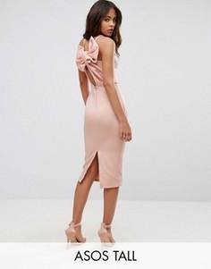 Платье-футляр миди с бантом на спине ASOS TALL - Оранжевый