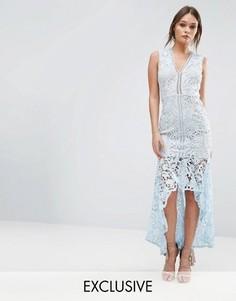 Кружевное платье без рукавов с баской Love Triangle - Синий