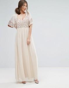 Платье макси с рукавами‑кимоно и отделкой Boohoo - Розовый