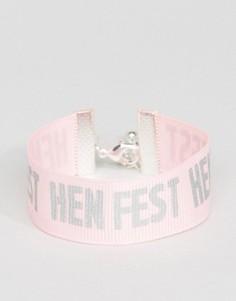 Браслет с принтом Hen Fest ASOS - Розовый