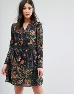 Платье-рубашка с принтом Lavand - Черный