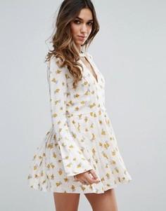 Платье с длинными рукавами и принтом Free People Tegan - Белый