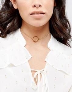 Ожерелье-чокер с контурным кольцом ASOS - Золотой