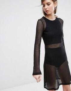 Ажурное облегающее платье Weekday - Черный