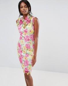 Кружевное платье миди с цветочным рисунком Paper Dolls - Мульти