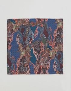 Платок для нагрудного кармана с принтом пейсли (синий/бордовый) Devils Advocate - Синий