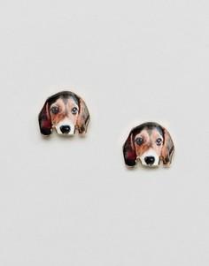 Серьги-гвоздики с собакой Monki - Мульти