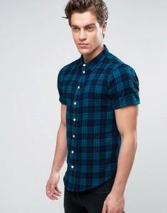 Рубашка в клетку с короткими рукавами Another Influence - Темно-синий