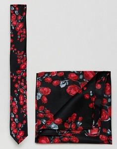 Галстук и платок для нагрудного кармана с цветочным принтом ASOS - Черный