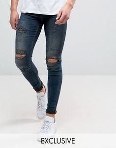 Супероблегающие джинсы с рваной отделкой Blend Flurry - Темно-синий