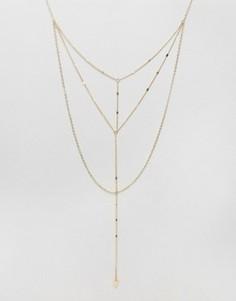 Ярусное ожерелье-цепочка ASOS - Золотой