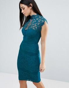 Кружевное облегающее платье без рукавов с высокой горловиной Lipsy - Зеленый
