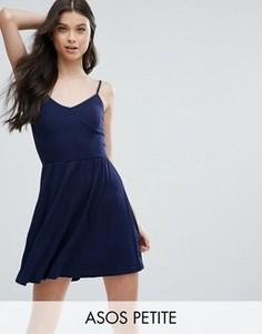 Короткое приталенное платье стиля 90-х в рубчик ASOS PETITE - Темно-синий