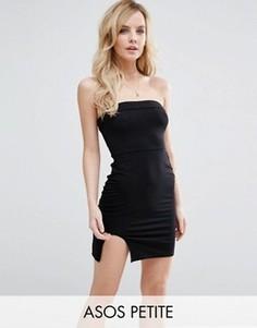 Облегающее платье мини без бретелей с закругленным разрезом ASOS PETITE - Черный