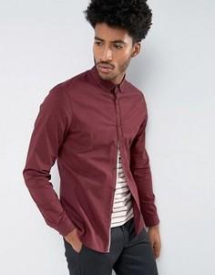 Красная узкая рубашка из эластичной саржи ASOS - Красный