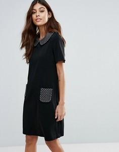 Цельнокройное платье с контрастным воротником и карманами Traffic People - Черный