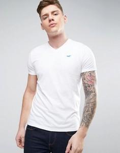 Белая футболка узкого кроя с V-образным вырезом и логотипом Hollister - Белый