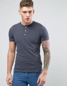 Темно-синяя обтягивающая футболка хенли Abercrombie & Fitch - Темно-синий