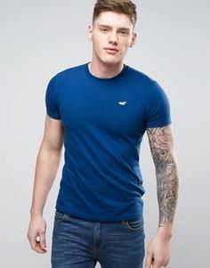 Узкая темно-синяя футболка с логотипом Hollister - Темно-синий