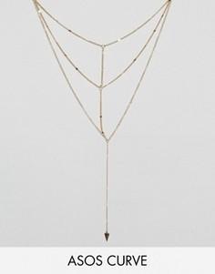 Ожерелье-цепочка в несколько рядов ASOS CURVE ASOS - Золотой