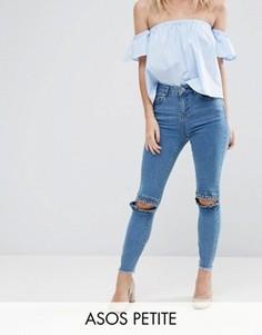 Синие джинсы скинни с рюшами на коленях и необработанными краями ASOS PETITE RIDLEY - Синий