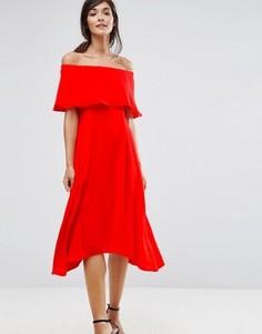 Платье миди с лифом бандо и оборками Coast Brooke - Оранжевый
