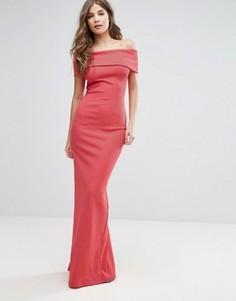 Платье макси бандо с разрезом City Goddess - Розовый